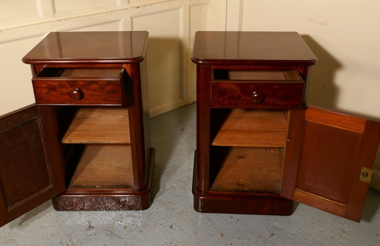 Pair of Victorian Mahogany Bedside Cupboards For Sale 1