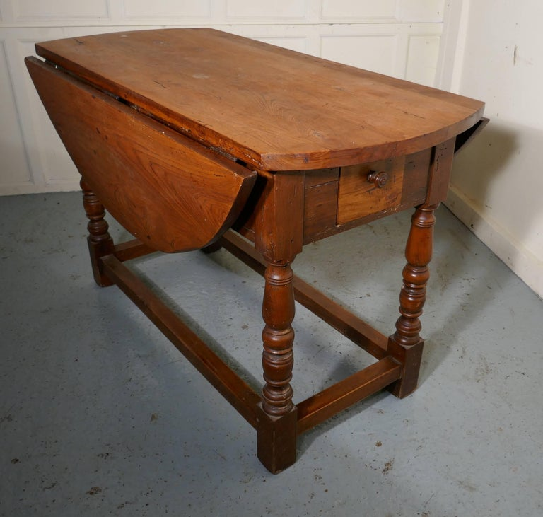 French Country Elm Drop Leaf Table Kitchen Dining Table For Sale At 1stdibs