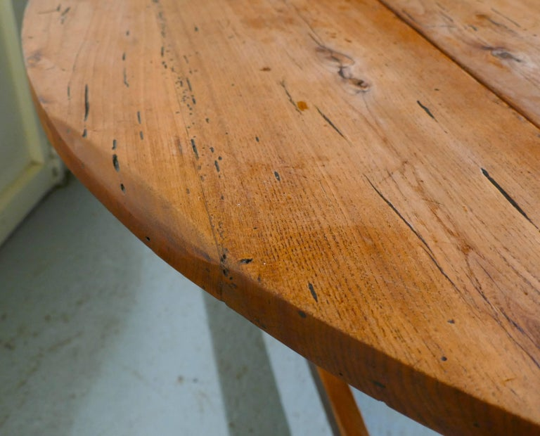 19th Century French Country Elm Drop-Leaf Table, Kitchen Dining Table For Sale