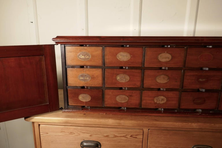 Industrial 19th Century Long Mahogany Estate Cupboard Filing Drawers For Sale