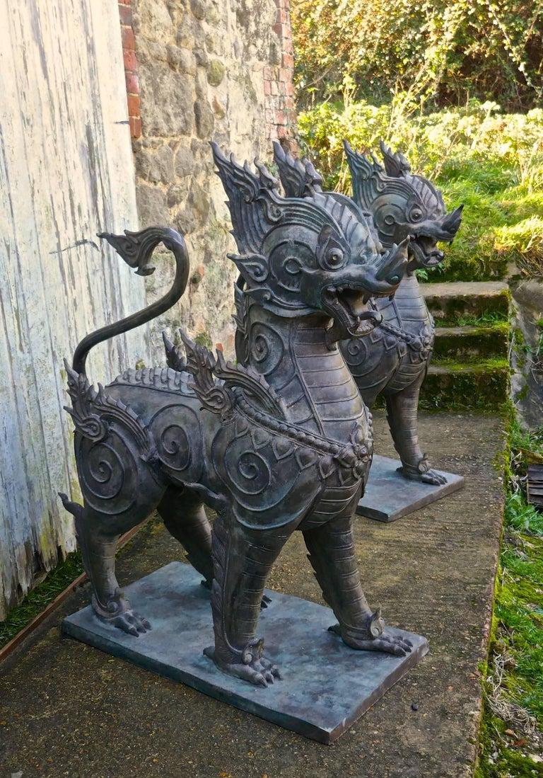 Pair of Large Bronze Thai Temple Guardian Foo Lion Dogs 1