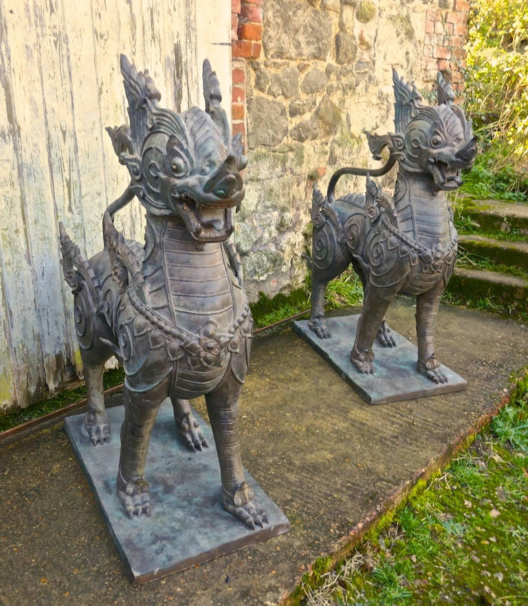 19th Century Pair of Large Bronze Thai Temple Guardian Foo Lion Dogs