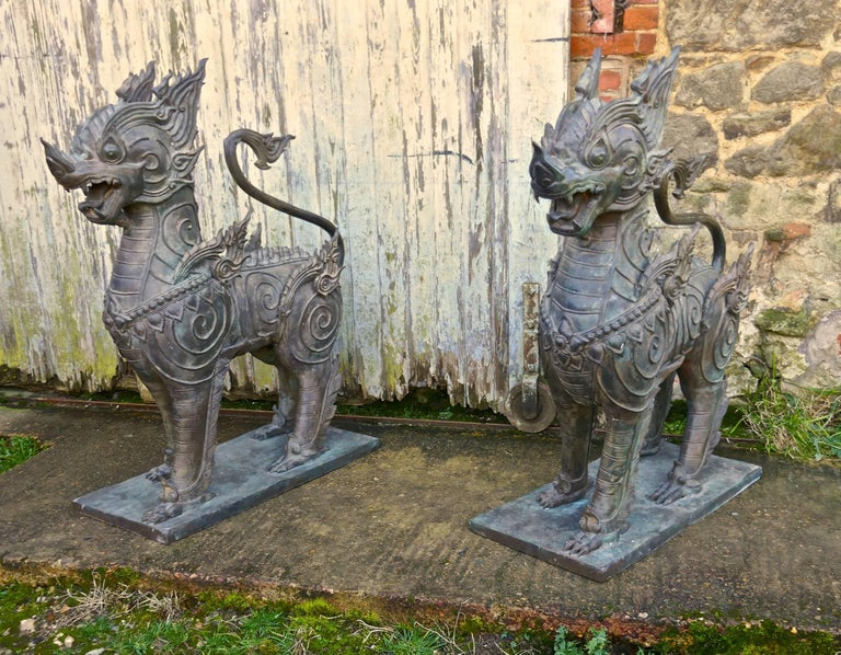 Medieval Pair of Large Bronze Thai Temple Guardian Foo Lion Dogs