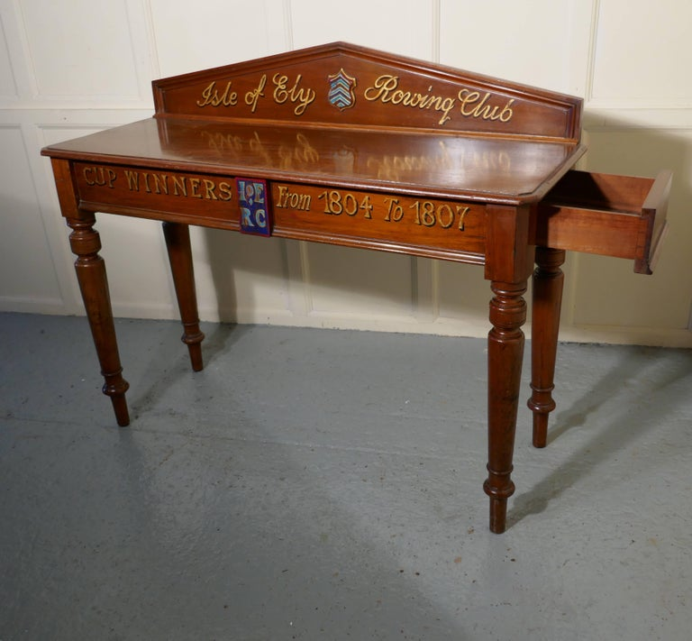 "English Victorian Mahogany Side Table from ""The Isle of Ely"" Rowing Club For Sale"