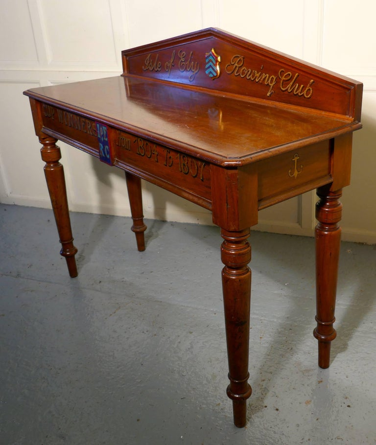"19th Century Victorian Mahogany Side Table from ""The Isle of Ely"" Rowing Club For Sale"