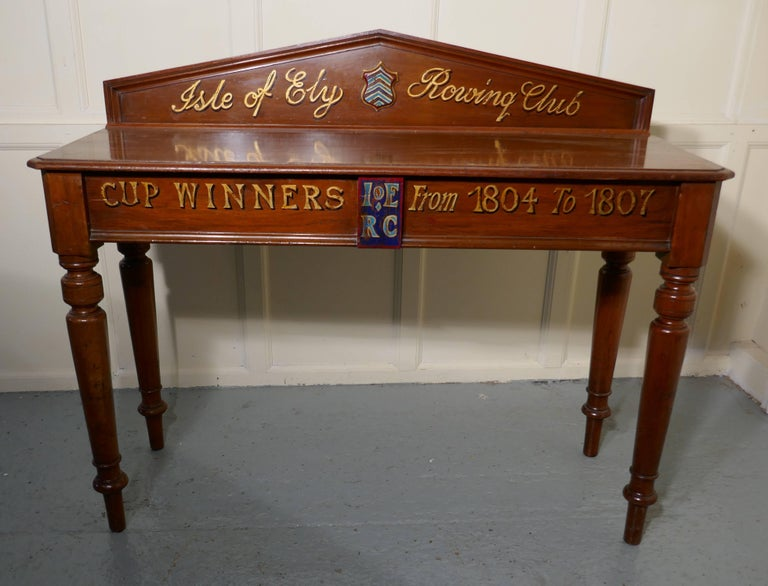 "British Colonial Victorian Mahogany Side Table from ""The Isle of Ely"" Rowing Club For Sale"