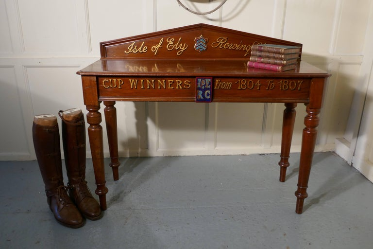 "Victorian Mahogany Side Table from ""The Isle of Ely"" Rowing Club For Sale 2"
