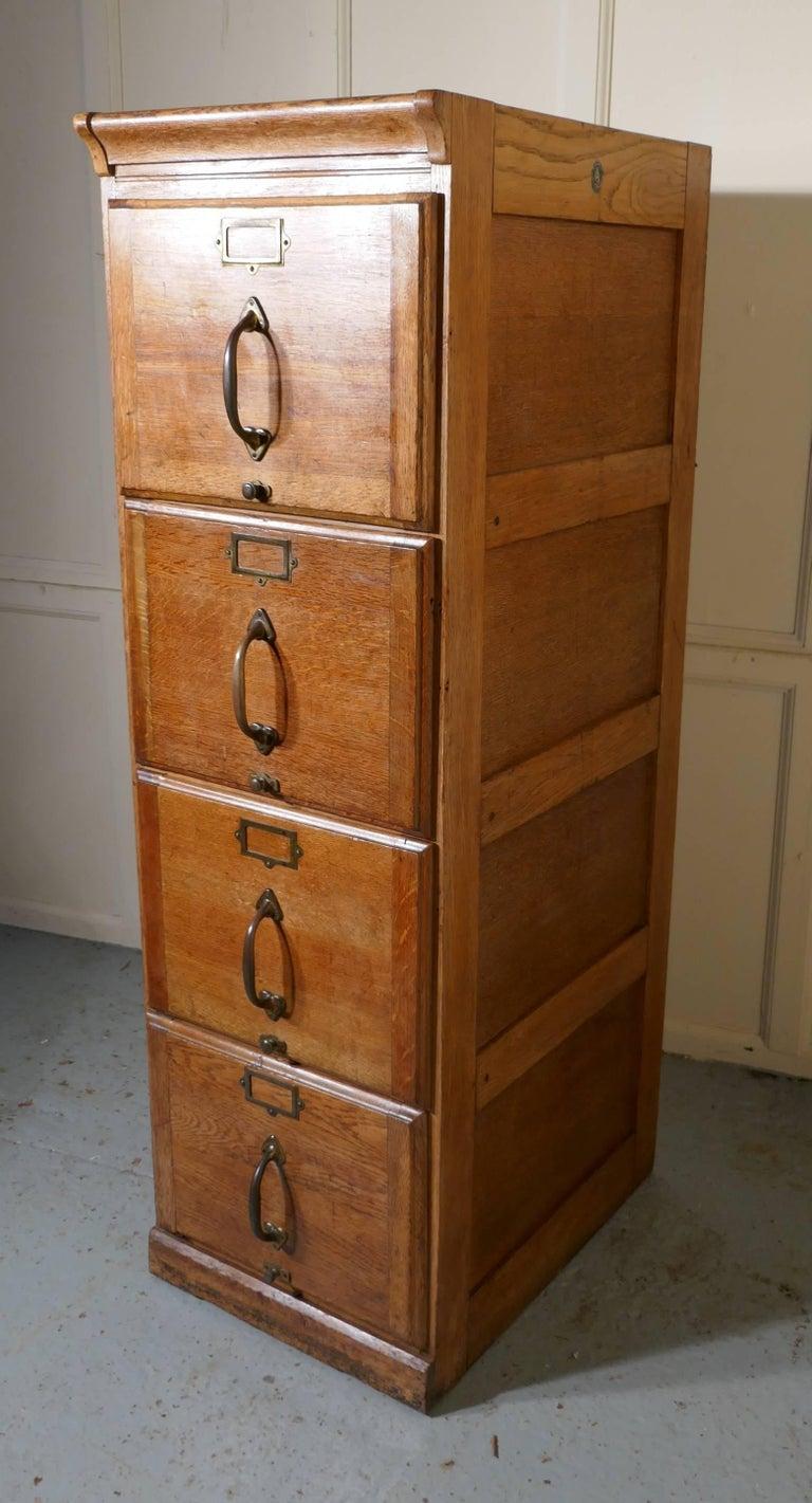 Large Art Deco Four-Drawer Oak Filing Cabinet at 1stdibs