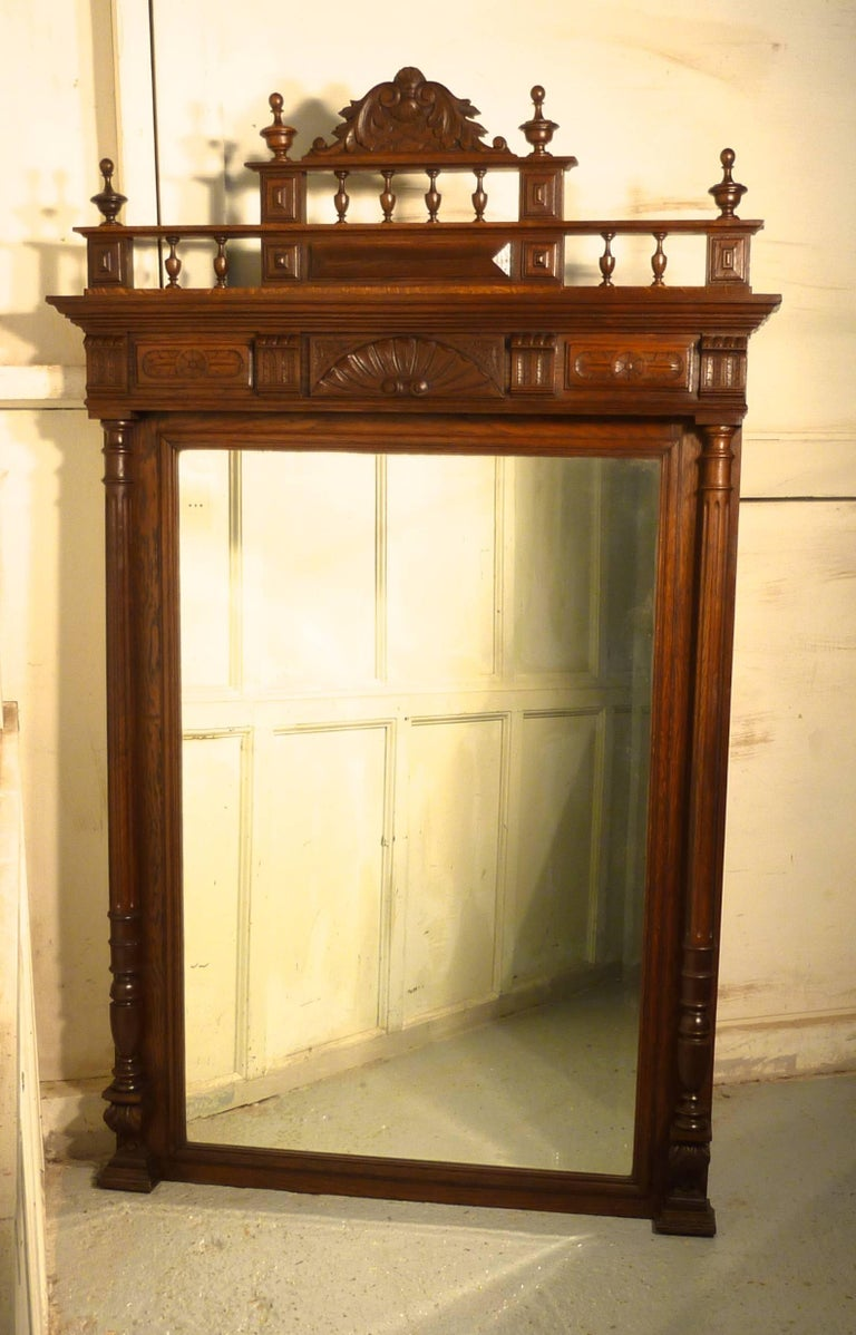 Large French Carved Oak Wall Mirror For Sale at 1stdibs