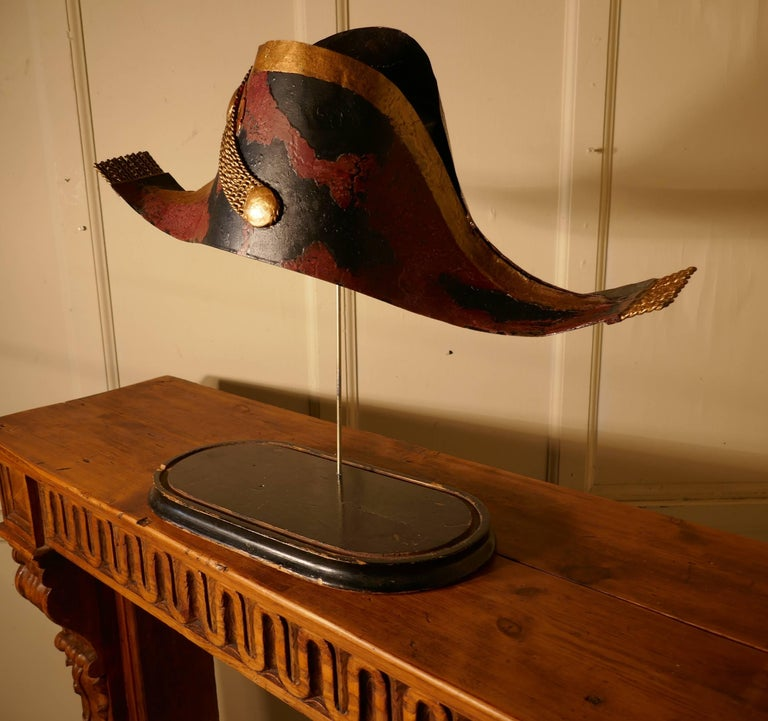 19th Century French Bicorn Toleware Hat Shop Trade Sign In Good Condition For Sale In ., GB