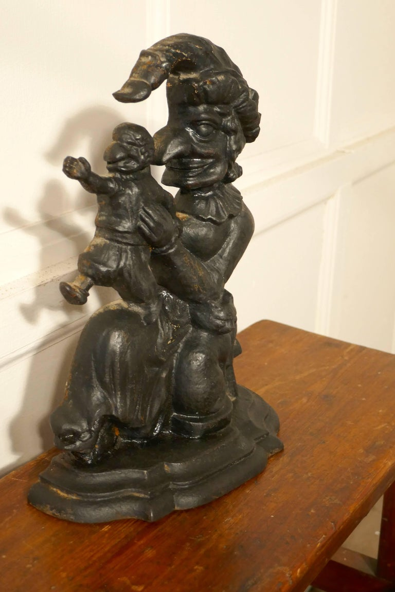 Very Rare Early 19th Century Cast Iron Judy Door Stop In Good Condition For Sale In ., GB