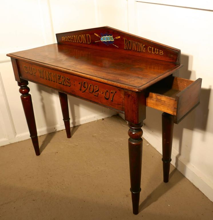 to 19th century richmond rowing club trophy table mahogany hall table