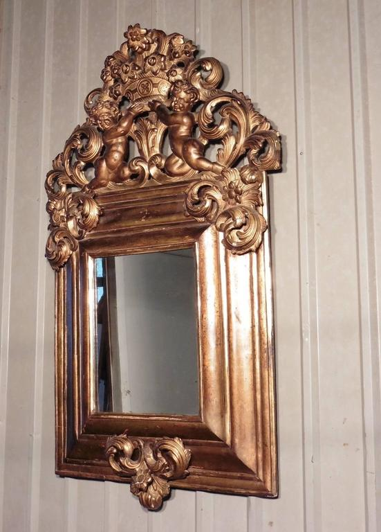 Hand-Painted Large 18th Century Carved English Giltwood Mirror For Sale