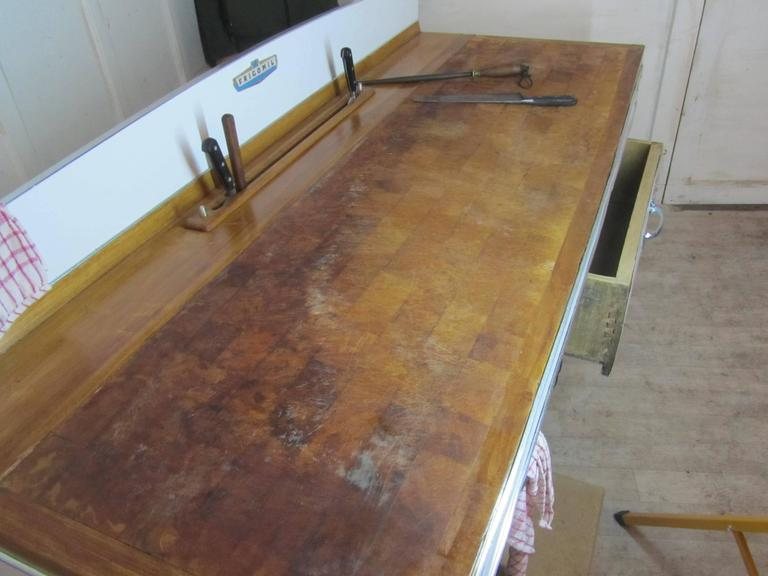1920s, Belgian Art Deco Maple and Formica Butchers Block, Kitchen Island For Sale 1