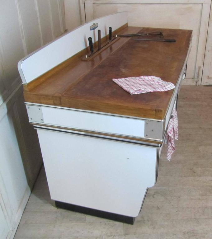 1920s, Belgian Art Deco Maple and Formica Butchers Block, Kitchen Island For Sale 2