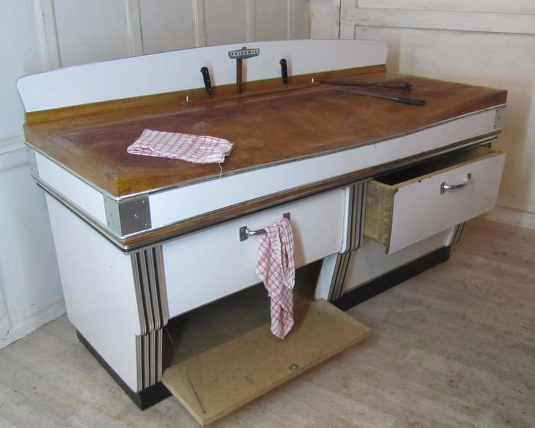 1920s, Belgian Art Deco Maple and Formica Butchers Block, Kitchen Island For Sale 3