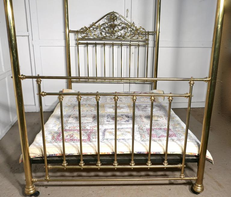 English Victorian Art Nouveau Four Poster Double Br Bed For