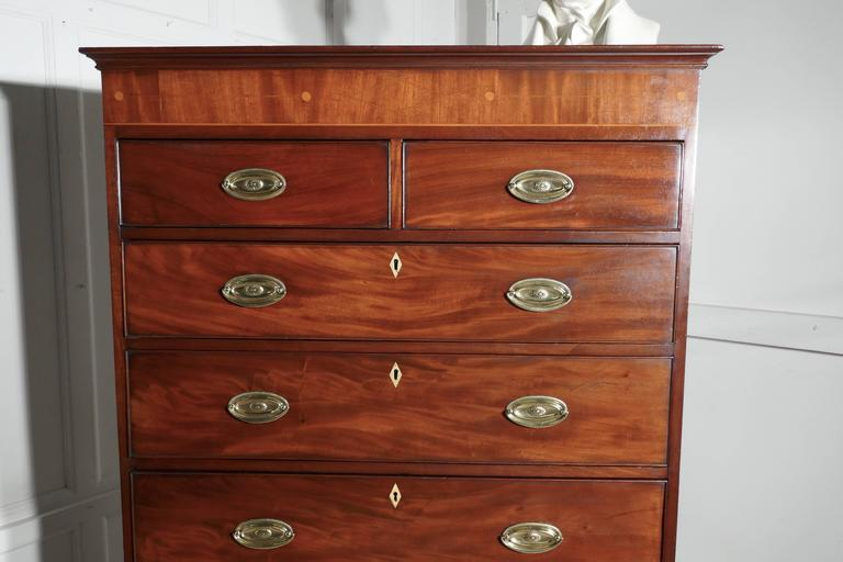 George III Georgian Flame Mahogany Chest on Chest, with Inlay to the Cornice For Sale