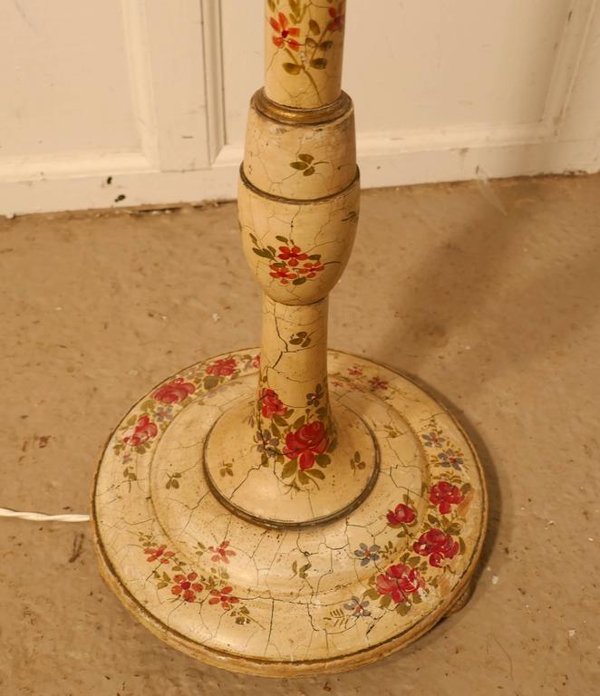 1920s Painted Floor Standing Lamp Cream Red Roses Shabby