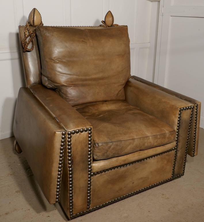 Large victorian soft leather knole armchair for sale at for Oversized armchairs for sale