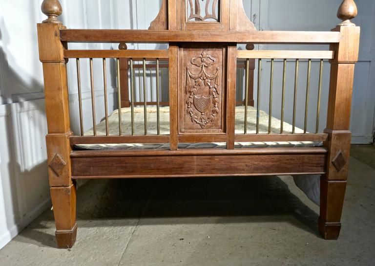 Colonial Revival Colonial Style Antique Four Poster Double Bed, 19th Century Raj Bed For Sale