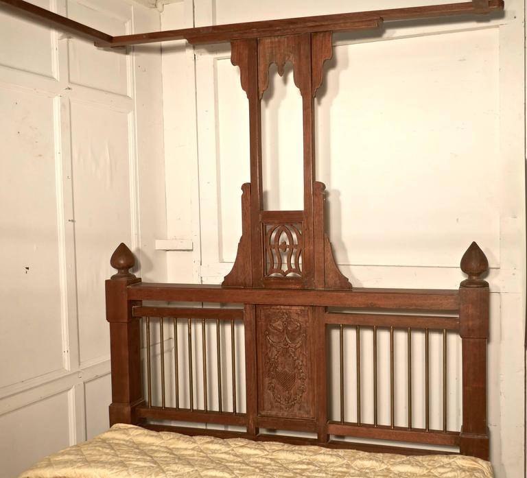Indian Colonial Style Antique Four Poster Double Bed, 19th Century Raj Bed For Sale