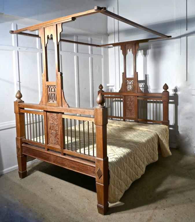 Colonial Style Antique Four Poster Double Bed, 19th Century Raj Bed In Fair Condition For Sale In Chillerton, Isle of Wight