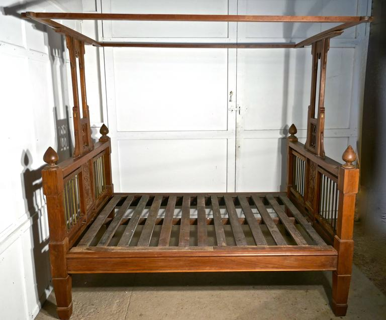 Brass Colonial Style Antique Four Poster Double Bed, 19th Century Raj Bed For Sale