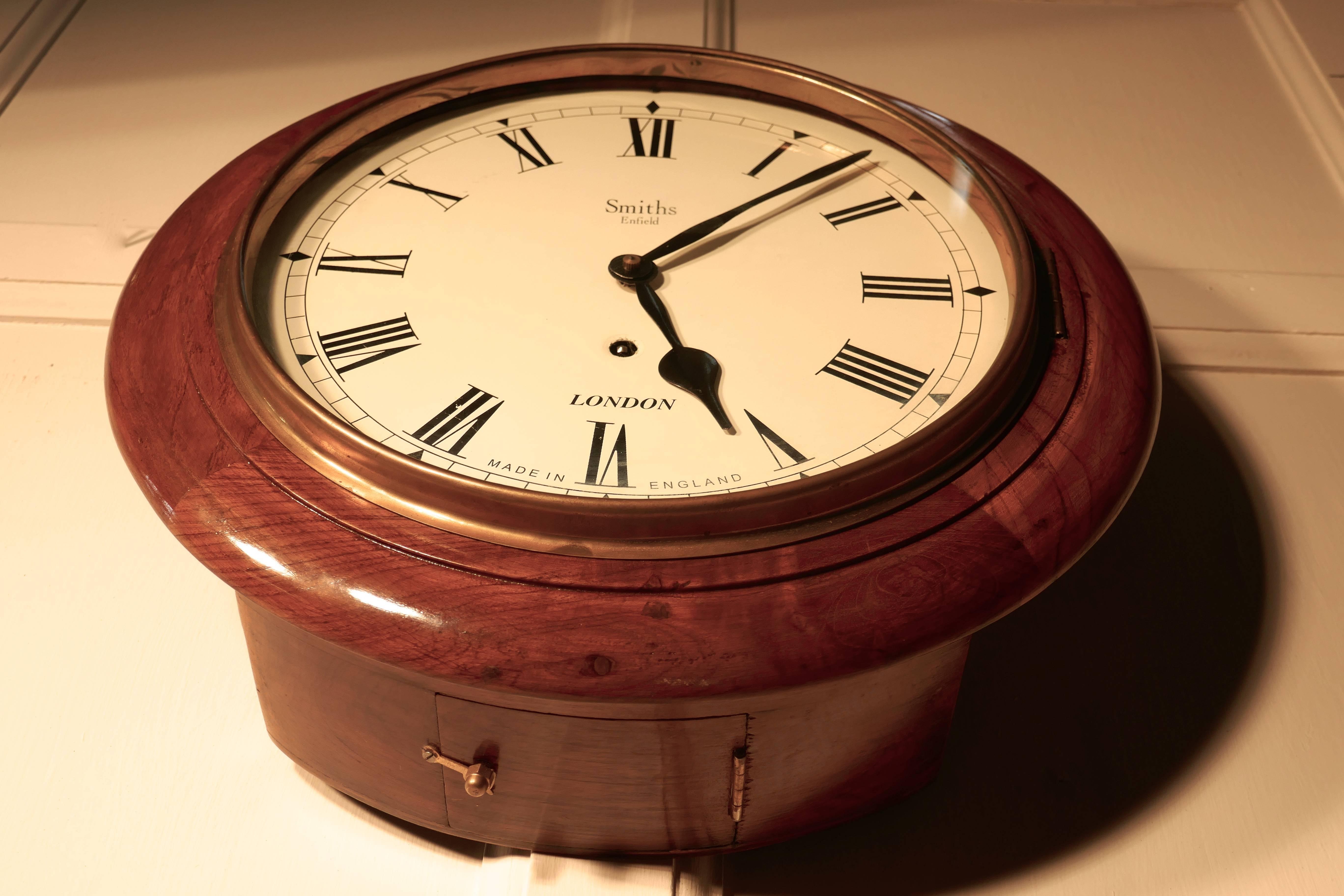Traditional English School or Railway Clock, 1910 Smiths Enfield ...