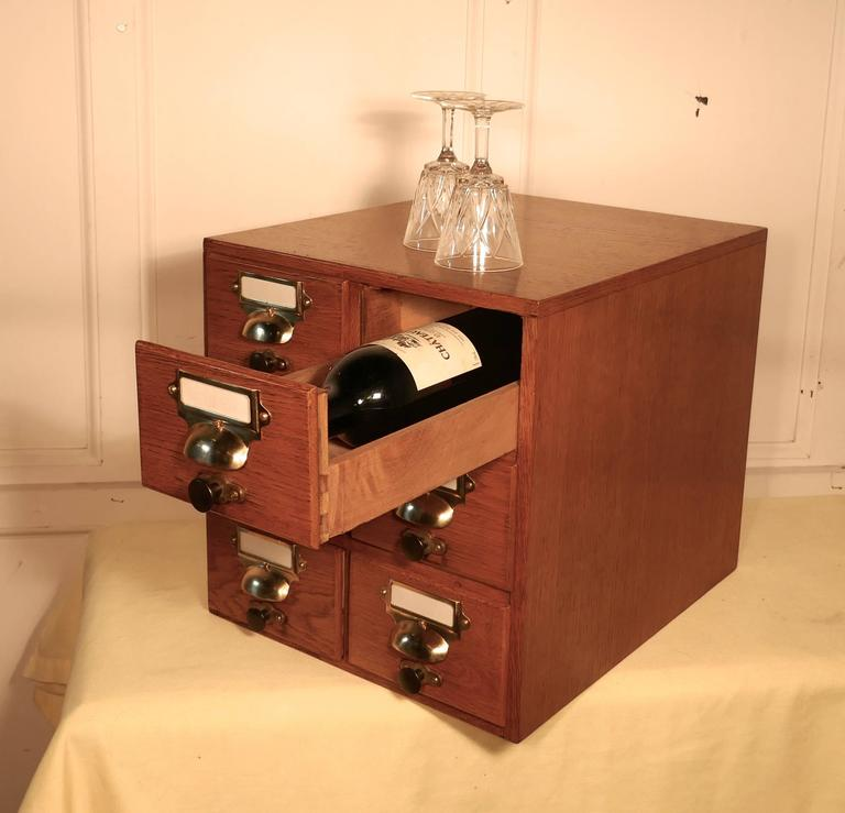 Oak Six Drawer Card Index Filing Cabinet, Wine Rack Or Coffee Table The  Cabinet Has