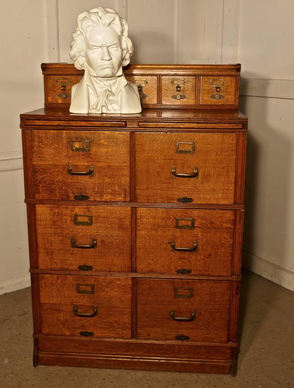 Large Edwardian 11 Drawer Oak Filing Cabinet By Shannon 2