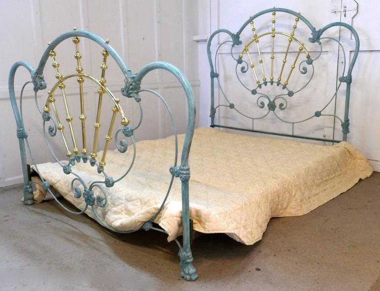 Glamorous Hollywood Style Blue Enamel Iron And Brass Double Bed At