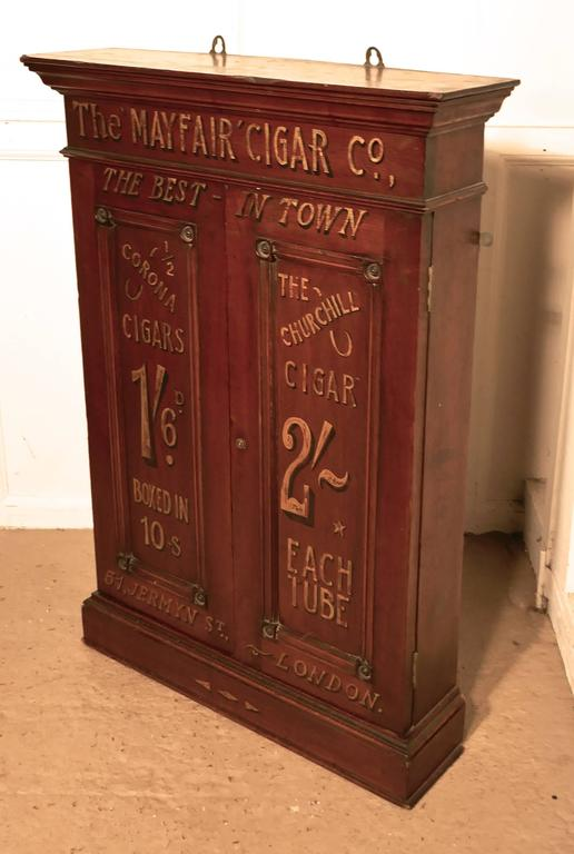 Victorian Sign Painted Cigar Store Cupboard Shop Display