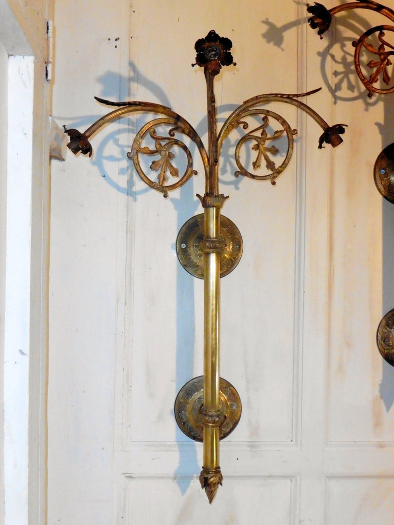 Very Large Wall Lights : Set of Four French Very Large Brass Triple Wall Lights at 1stdibs