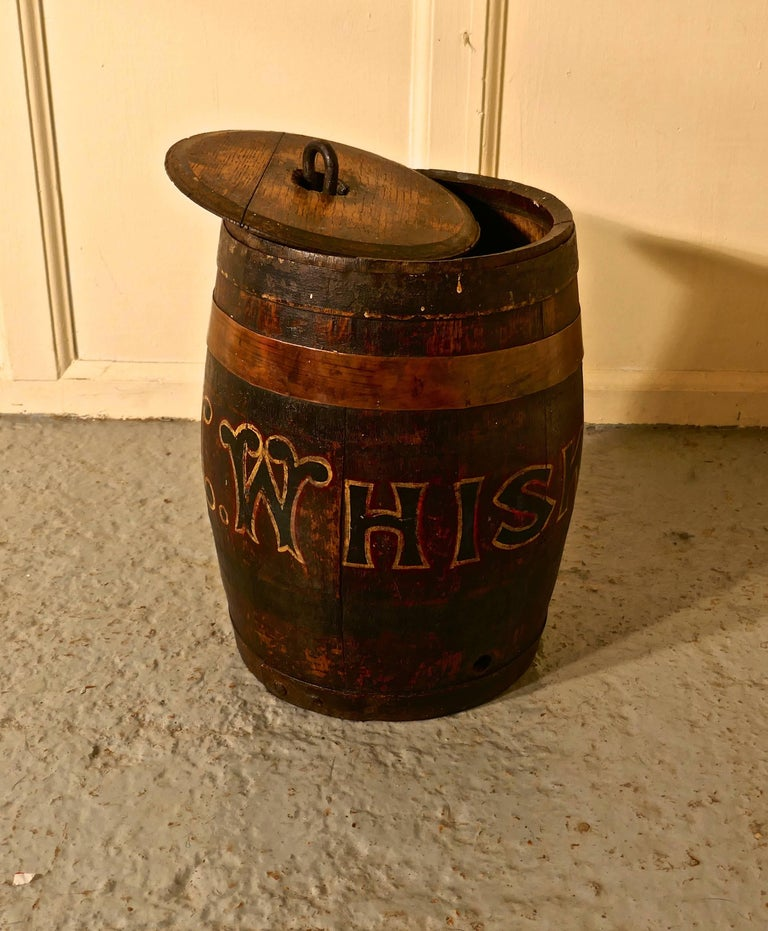 Umbrella Stand Ireland: 19th Century Oak And Copper Irish Whiskey Barrel, Quirky