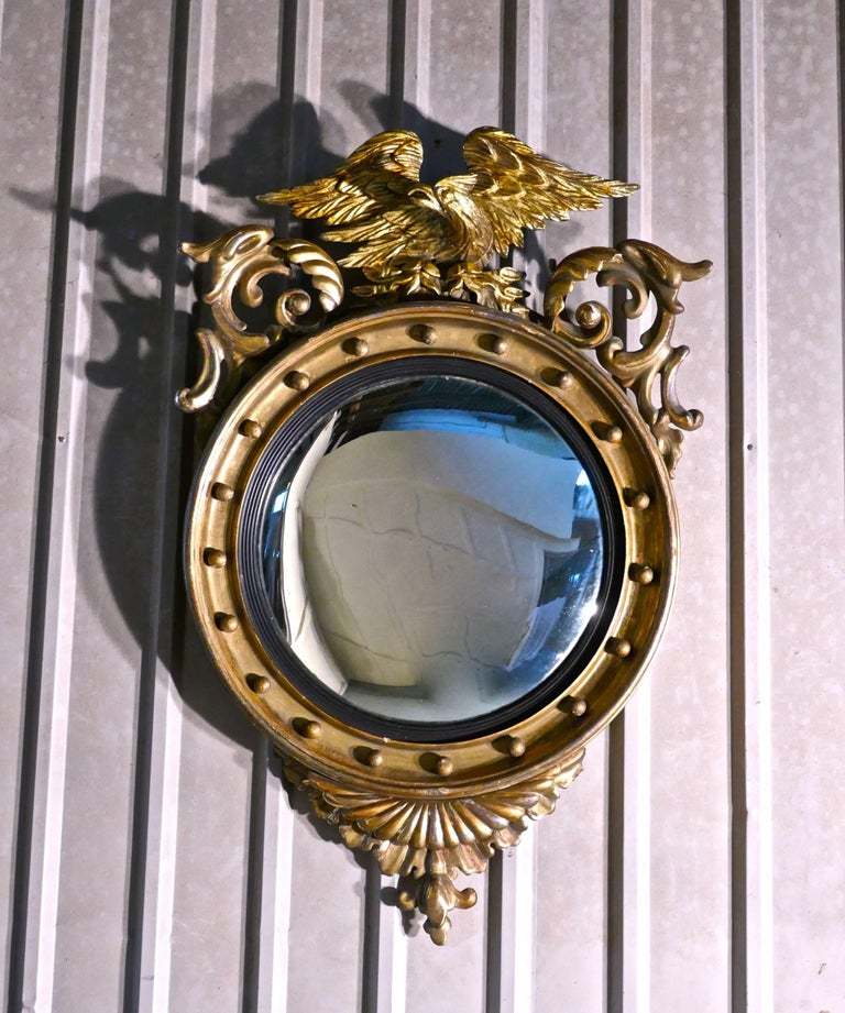 Large Regency Convex Gilt Wall Mirror For Sale 2