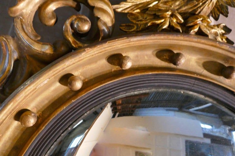 Large Regency Convex Gilt Wall Mirror In Good Condition For Sale In ., GB