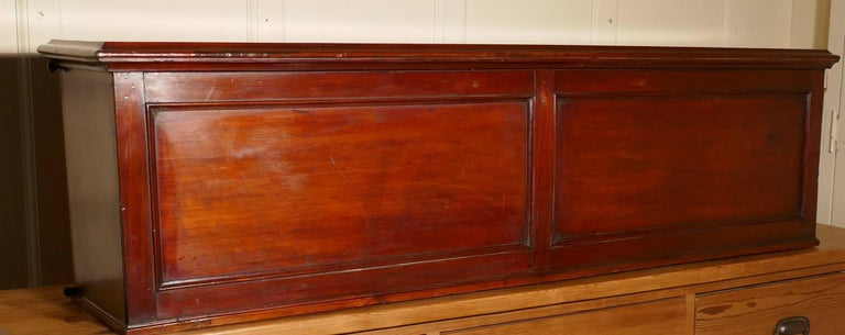 19th Century Long Mahogany Estate Cupboard Filing Drawers For Sale 2