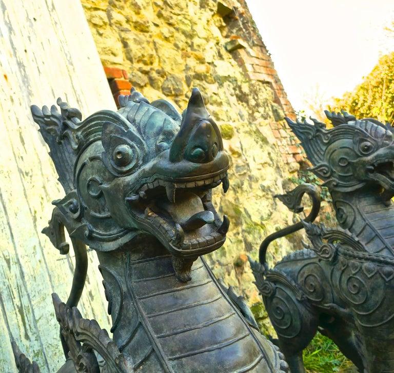Pair of Large Bronze Thai Temple Guardian Foo Lion Dogs 2