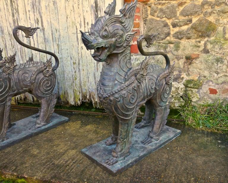 Pair of Large Bronze Thai Temple Guardian Foo Lion Dogs 3