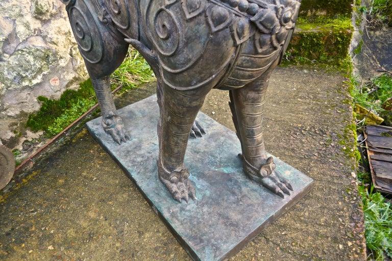 Pair of Large Bronze Thai Temple Guardian Foo Lion Dogs 4
