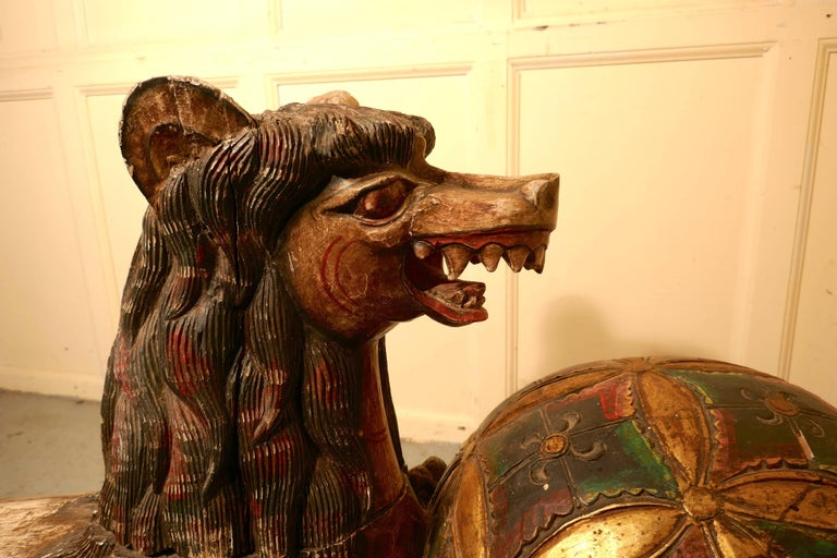 Large Carved Wooden Temple Lion, Pixiu or Foo Dog For Sale 2
