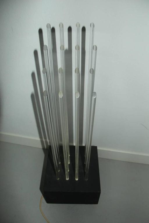 Late 20th Century New Lamp Divieto Gianfranco Fini 1970 Table Lamp Plexiglass Metal Black  For Sale