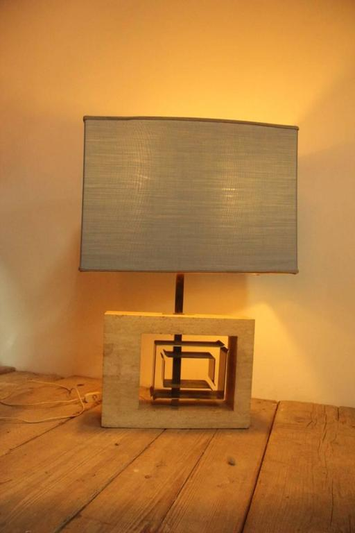 Minimal Table Lamp Sculptural 1970s Italian Design Brass Marble  For Sale 1