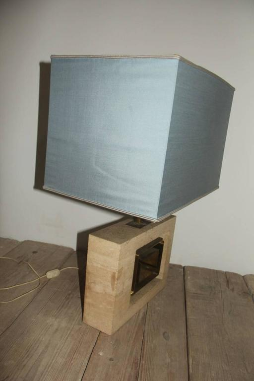Minimal Table Lamp Sculptural 1970s Italian Design Brass Marble  For Sale 3