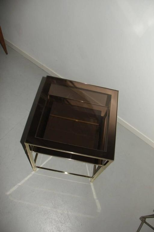 Coffee Table 1970s Brass And Mirrored Glass At 1stdibs