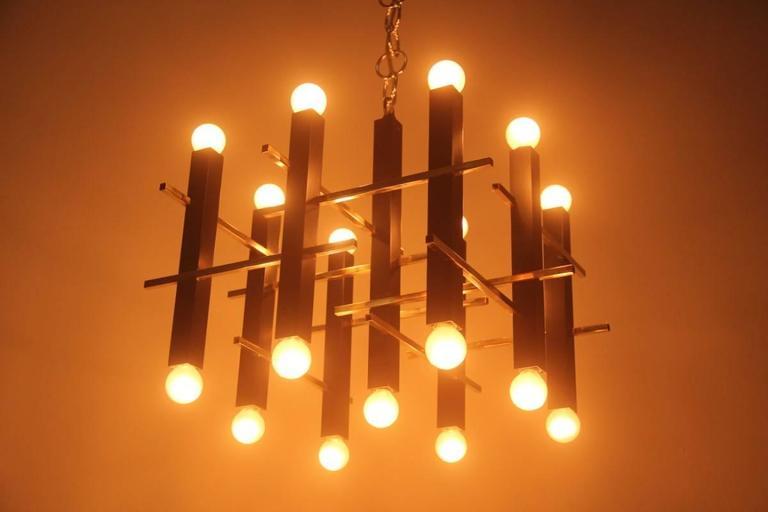Minimal Elegant Ceiling Lamp Sciolari, 1960s, Italian Design In Good Condition For Sale In Palermo, Sicily