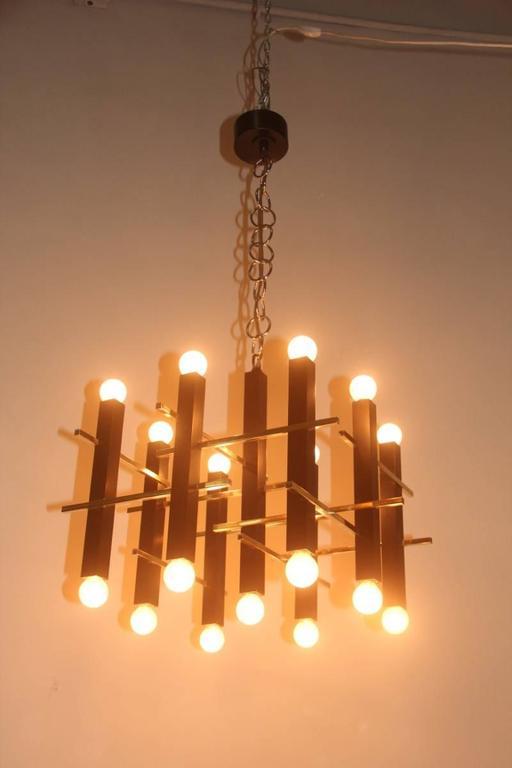 Metal Minimal Elegant Ceiling Lamp Sciolari, 1960s, Italian Design For Sale