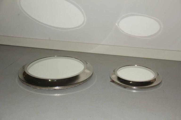 Italian Round Mirrors of Drawers, 1960 Attributed Sergio Mazza For Sale