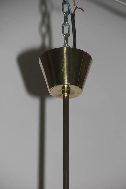Brass Italian Mid-Century Ceiling Lamp Stilnovo Design For Sale
